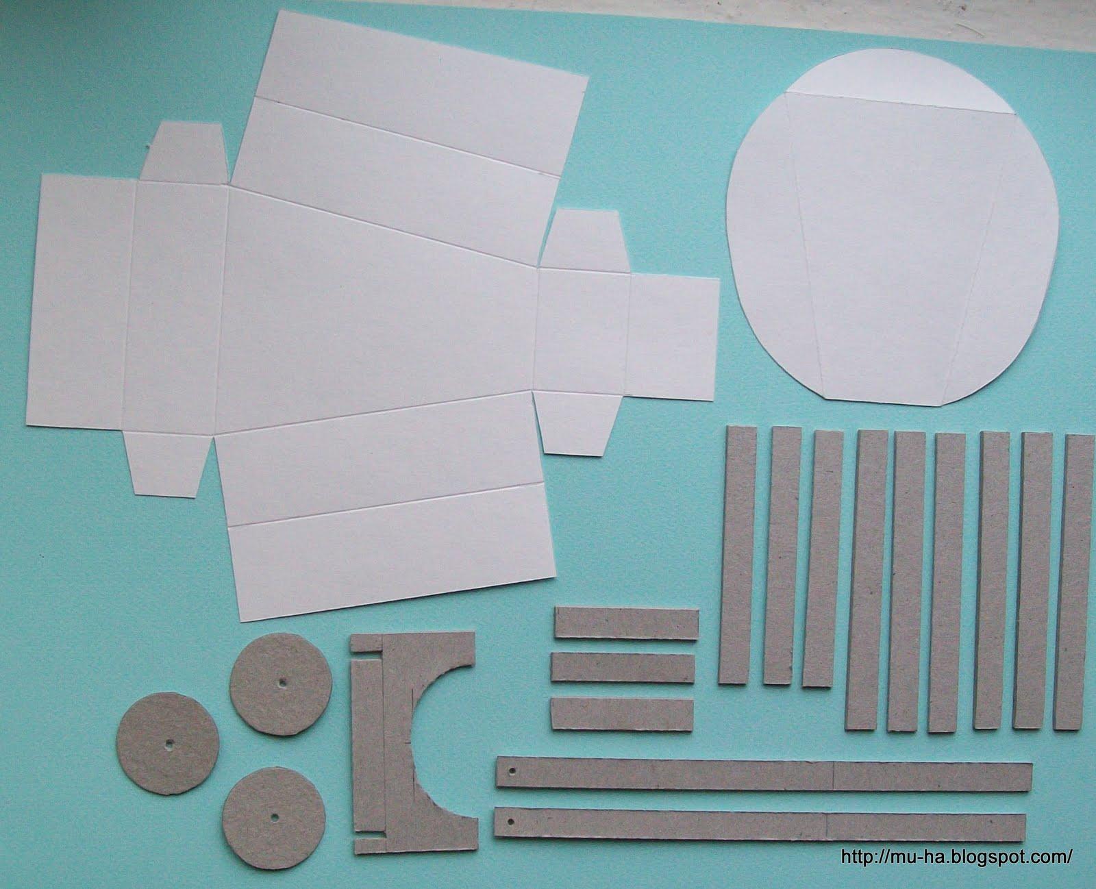 Вырежьте детали по шаблону, затем следуйте пошаговым фотографиям.  Такую тележку можно сделать из картона.