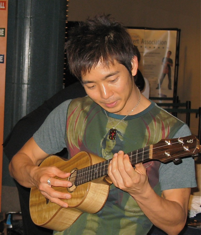 Jake Shimabukuro,,,checking out one of my Chena Ukes.