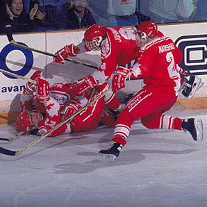 John Slaney (bottom of the pile) scored the game winning goal at the 1991 world junior championships.