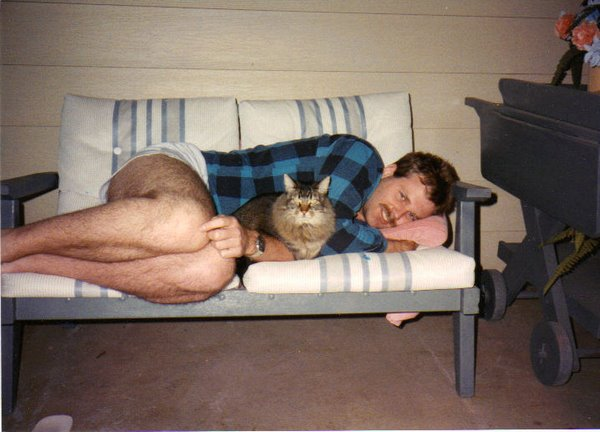 My Brother Gerald with his cat named Shit Head. Gerald Glenn Gollehon Jr. b. June 22 1962