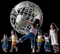 children holding globe