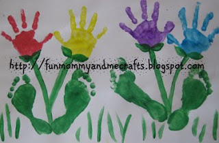 Handprint Flowers Foot Print craft Mothers Day keepsake Spring playdate