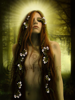 Iseult in the sacred forest - digital painting by Ceara-finn