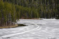 Frozen over lake, Bighorn Mountains