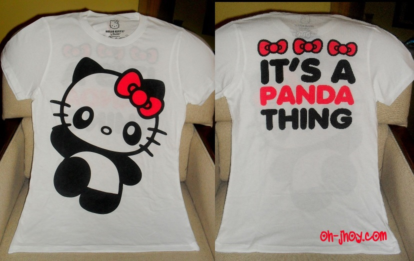 My favorite animal is the panda bear, so this Hello Kitty/Panda shirt