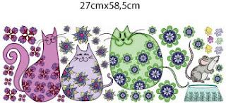 Adesivo de parede colorido com gatinhos estampados
