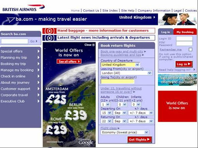 British Airways Google Earth BA website