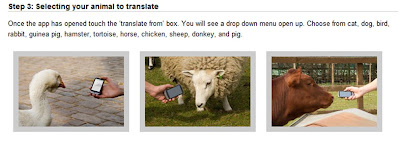 Google Translate For animals Android application select setting