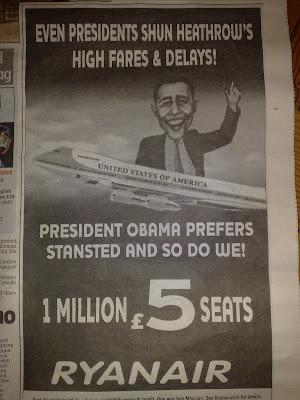Ryanair Barack Obama tactical ad