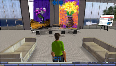 David Hockney iPhone flowers inside Second Life