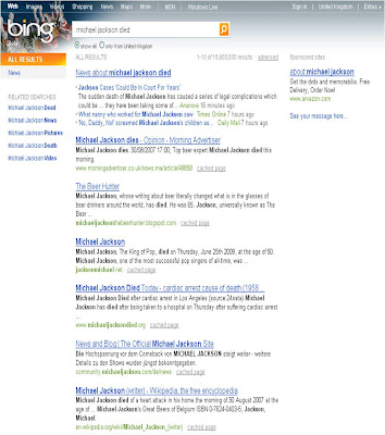 Bing Michael Jackson Died results