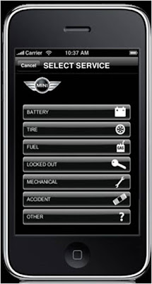 Mini Road Assist iPhone App select service