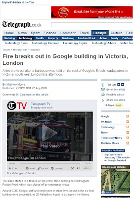 Telegraph report Google Fire London