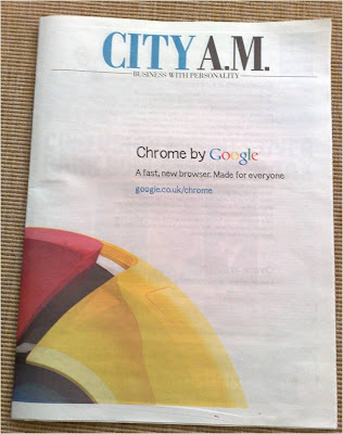Google Chrome City AM newspaper ad front page