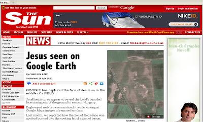 The Sun Google Earth Jesus April 2010