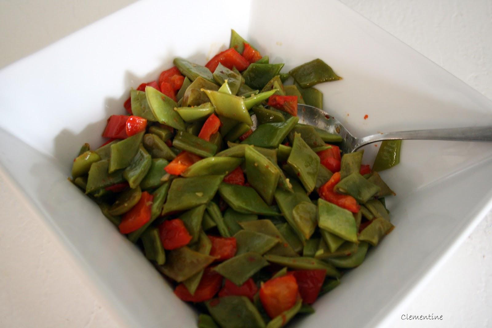 Le blog de clementine haricots plats aux poivrons rouges - Cuisiner les haricots plats ...