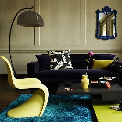 purple velvet sofa light green living room blue shag carpet lime green contemporary plastic chair