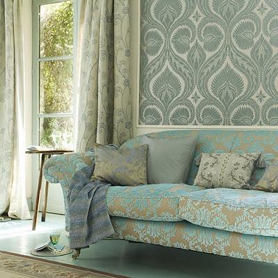 blue and tan damask sofa Farrow & Ball wallpaper