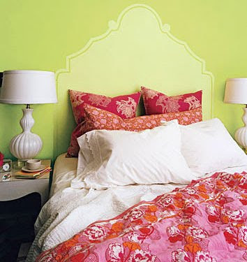 bed with pretty pillows