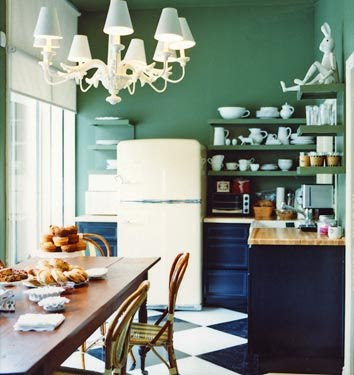 green kitchen Drew Barrymore