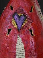 papier mache and mixed media art helmet by Melissa Lanitis Gregory