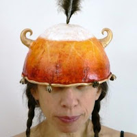papier mache and mixed media art helmet by Melissa Lanitis Gregory