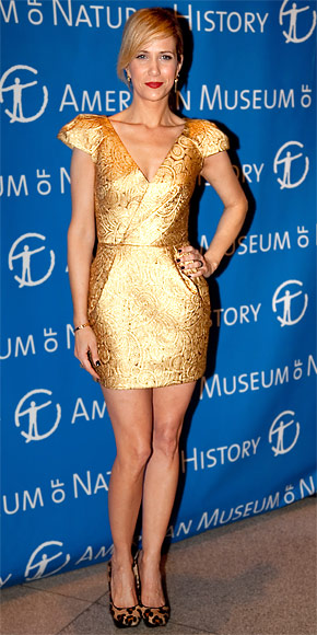 Kristen Wiig In A Martin Grant Gold Cocktail Dress At A Gala For The