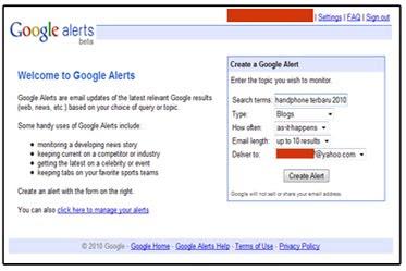 TRIK SEO : Memantau Keyword dengan Google Alerts