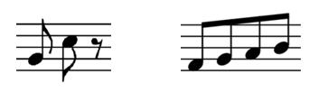 Dos imágenes de corcheas, unas sueltas, y otras unidas por medio del gancho.