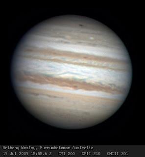 Imagen de Jupiter con la zona del impacto capturada por Anthony Wesley