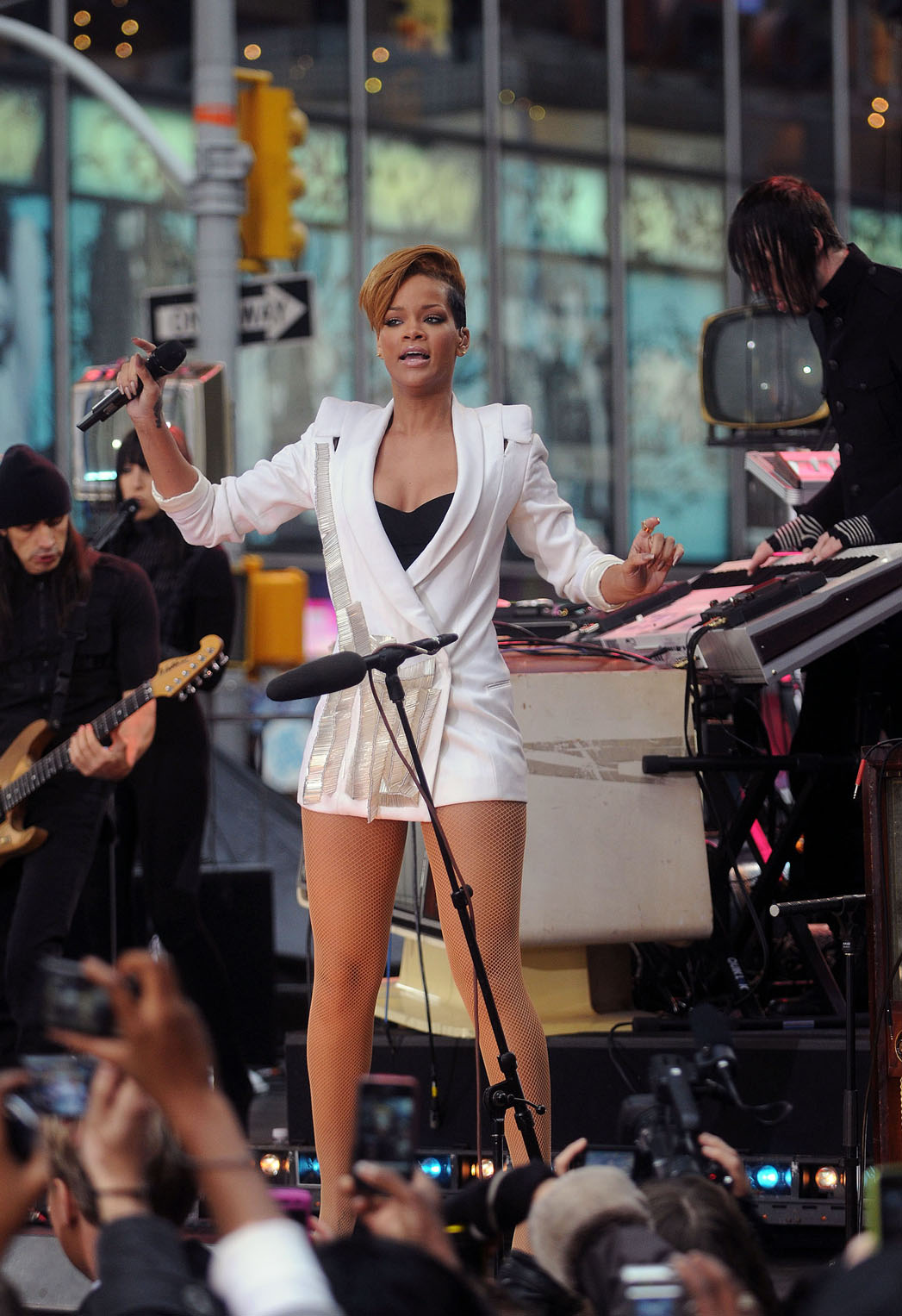 Rihanna Exposing in White Dress at Good Morning America Performance