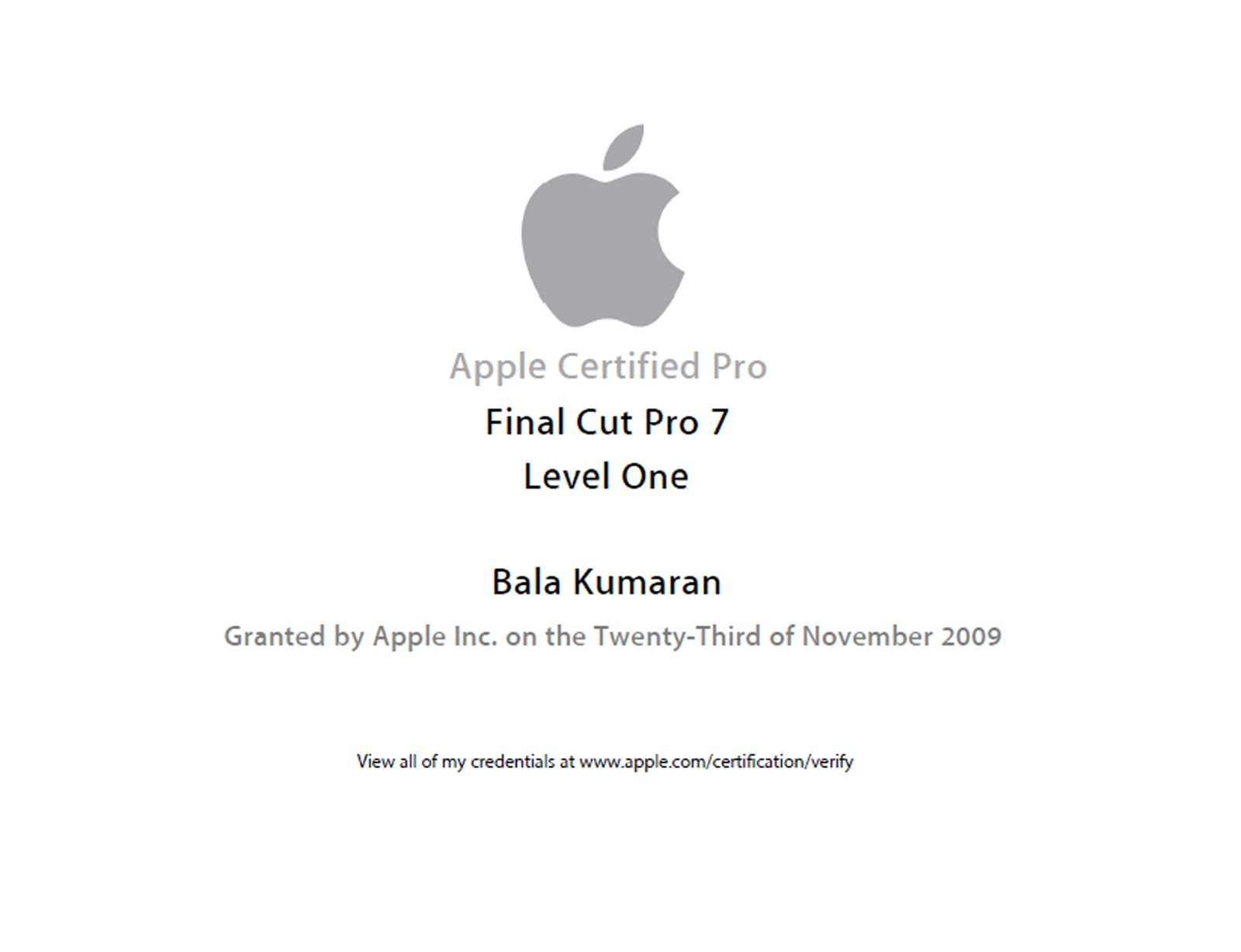 My Resume Apple Certificate