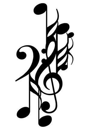 music notes art. music notes tattoos. cartoon