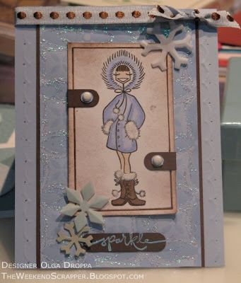 card, Bella, winter, snow, snowbunnybella, flocking, fun flock, handmade