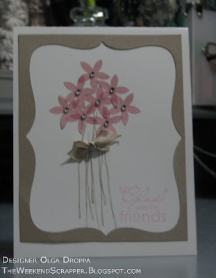card, handmade, flower, best yet, vellum, punch, rhinestones, SCS