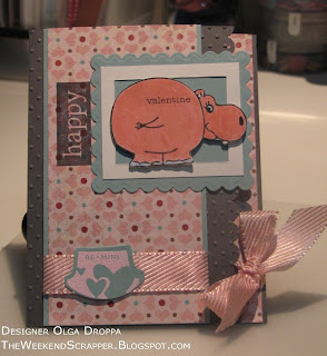 So Hippy, Gina K, hippo, valentines, card, handmade, handstamped, scalloped punch