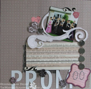 12x12 scrapbook layout of High School prom using SEI chocolat collection, Prima flowers and other embelishments