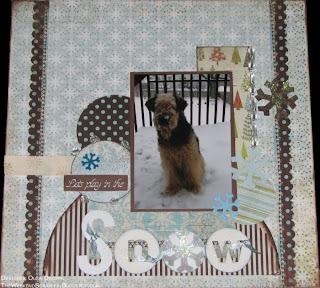 12x12 scrapbook layout with the dog wanting to play in the snow; the layout features BasicGrey papers and uses stitching, layering and stamping