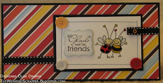 Stamped card with Stampedeous Bee stamp