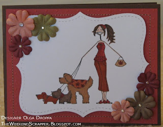 Dogwalkabella stamp card with prima flowers