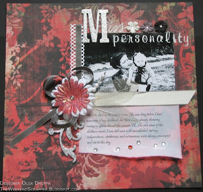 Scrapbook layout on Basic Grey Scarlet's letter paper with lots of rhinestones and flower accessories.