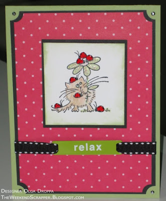Stamped Lady Bug Fluffles card on Stampin'Up! paper for Splitcoast Stampers featured stamper challenge