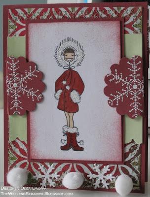 Hand stamped Snowbunny Bella card