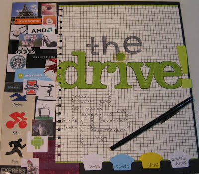 A 12x12 scrapbook layout titled Driven