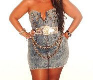 STUDDED DENIM DRESS