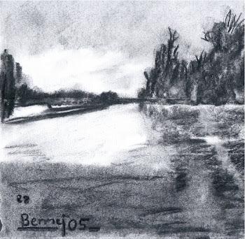 """""""Apunte de río al carboncillo"""", por Antonio"""