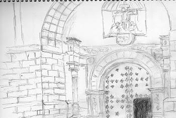 """""""Apunte rápido de la iglesia de Villamanrique, Ciudad Real"""", por Paco de la Calle..."""