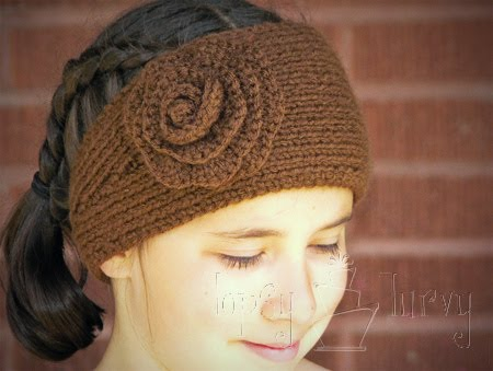 Crochet Flower Ear Warmer Tutorial : Knit Ear Warmers w/Flower!