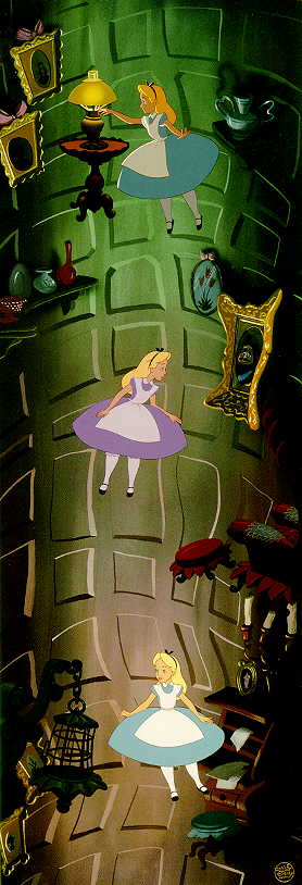 Alice in Wonderland Falling Down Rabbit Hole
