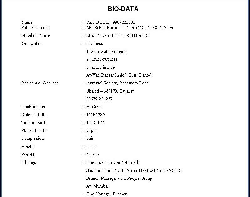 Biodata For Marriage. bio data templates. marriage biodata format ...